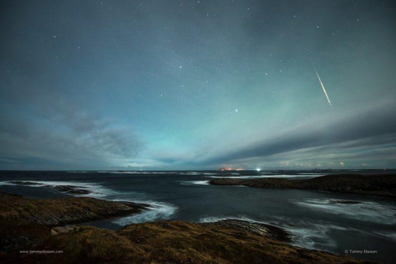 Geminid meteor, Lovund, Nordland, Norway.  Photo via Tommy Eliassen.