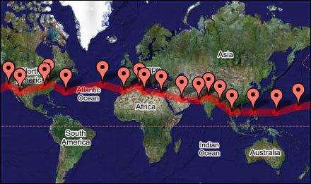 Google Map of Jerrie Mock's flight path on her record-breaking trip around the world in 1964. Map via Three-Eight Charlie on myflightblog.com