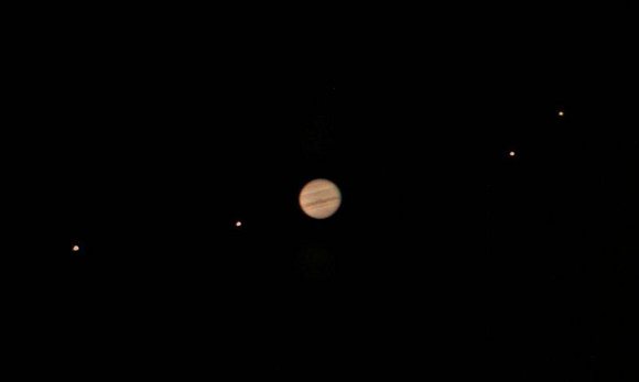 Jupiter and its four major moons as seen through a 10