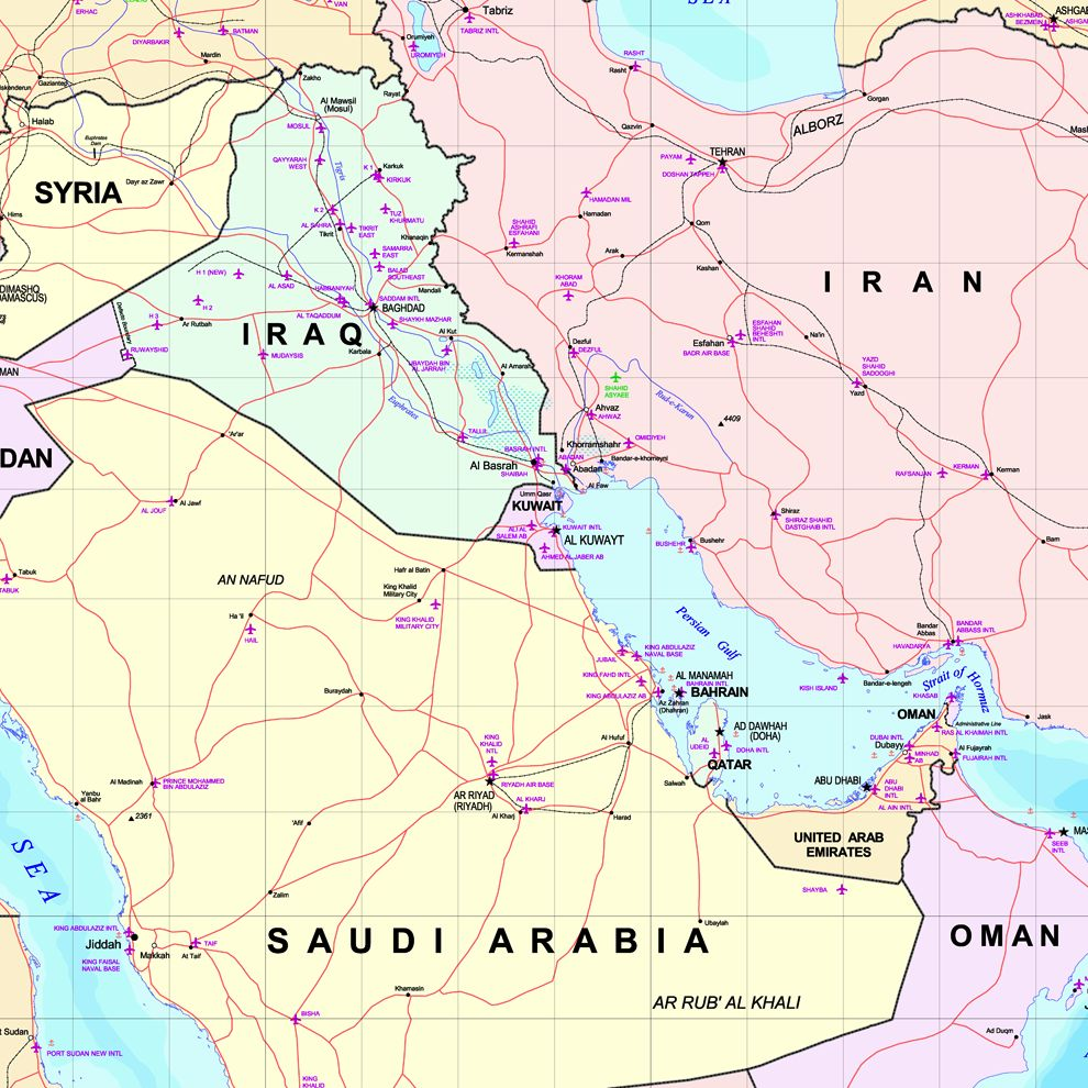 Kuwait is near the center of this map of parts of the Middle East. The Persian Gulf extend down in the lower right quadrant of the map. View larger. Map via Wikimedia Commons.