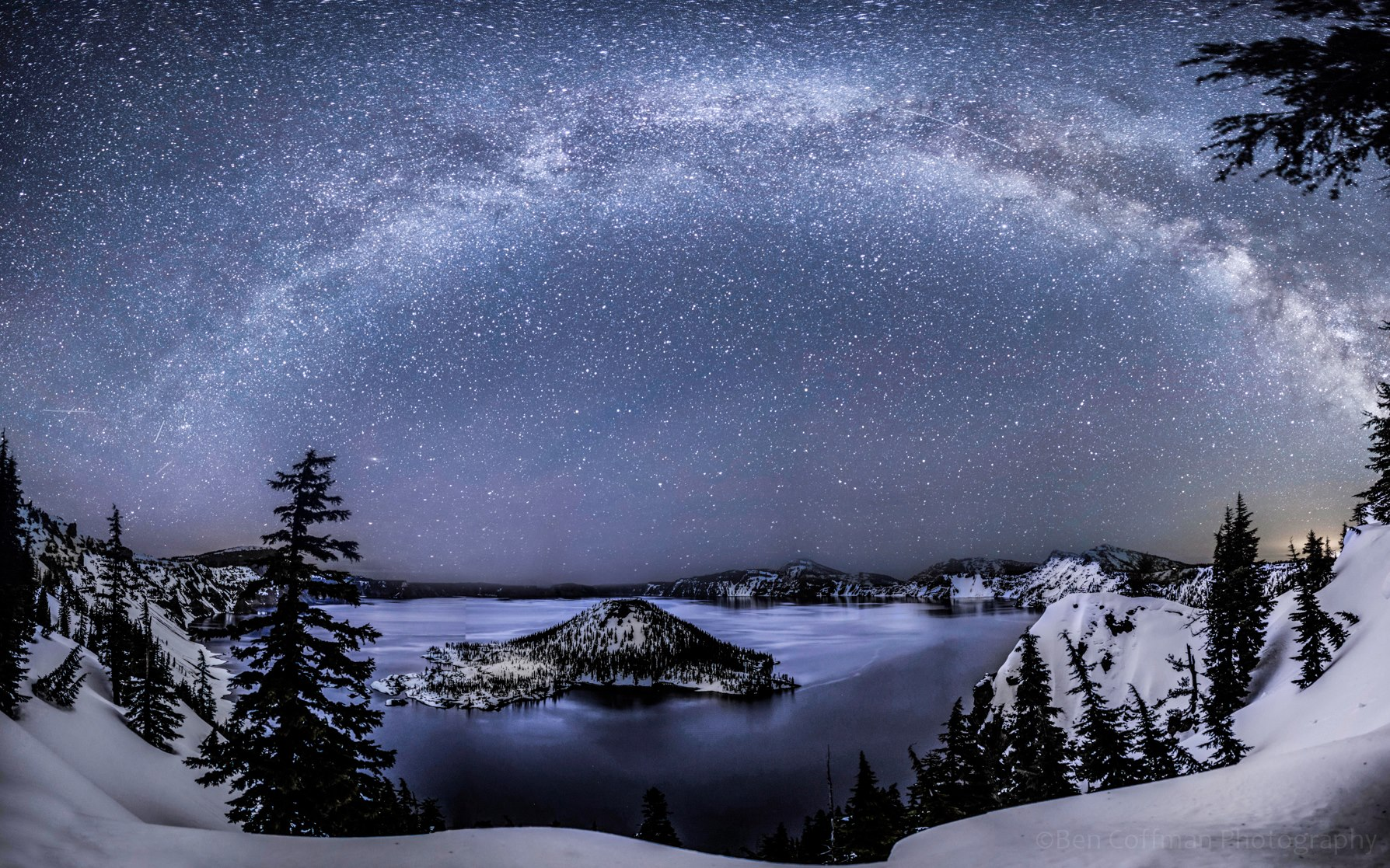 Milky Way over Crater Lake captured by our friend Ben Coffman Photography during the Lyrid meteor shower.  View larger.  This photo was taken last Saturday night, April 20.  Thanks Ben!  Visit Ben Coffman Photography on Facebook.