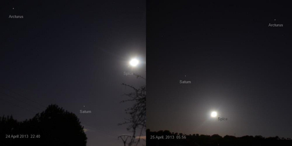 Moon, Spica, Saturn and Arcturus on April 24-25, 2013