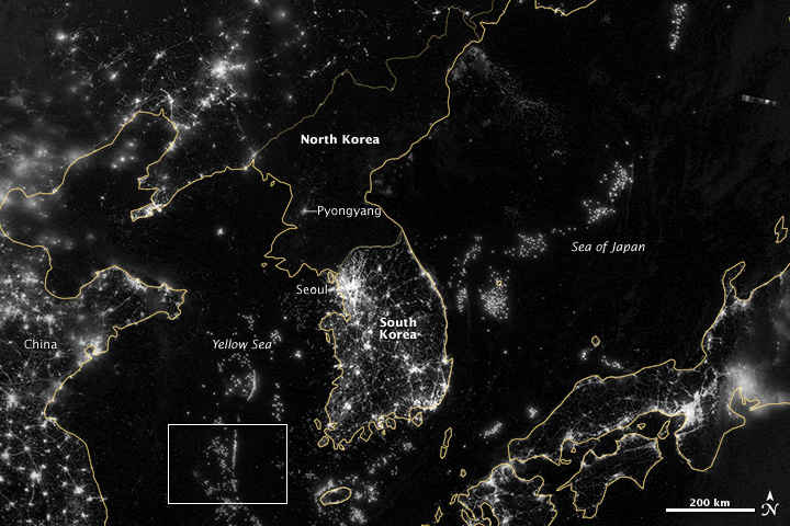 North and South Korea on September 24, 2012. Image via NASA Earth Observatory. View larger.