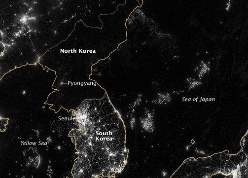 North Korea and South Korea from space | Earth | EarthSky on seoul korea at night, map of south north korean peninsula night, map of us at night, earth from satellite at night, texas satellite at night, map of south korea night, aerial view of north korea at night,
