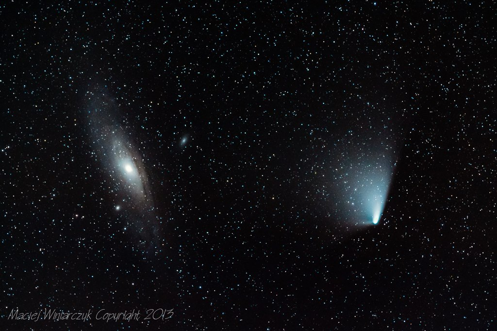 Andromeda Galaxy, left, and Comet PANSTARRS as they appeared on the night of April 4, 2013.  Photo by EarthSky Facebook friend Maciej Winiarczyk.  Thank you, Maciej.  View larger.