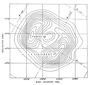 The first sign of SN 1006 in modern times came in 1965, when a radio telescope was used to create a contour map of emissions from this part of the sky. The map showed a shell-like structure, as you would expect from an expanding cloud of debris in space.