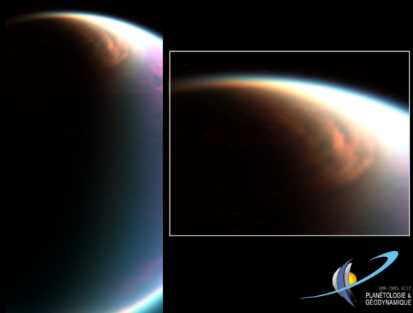 Prior to the recent discovery of an ice cloud over Titan's south pole, only the north pole of Titan was known to have an ice cloud. That makes sense, because it was winter in the northern hemisphere of Titan then. This image acquired by the Visual and Infrared Mapping Spectrometer (VIMS) in December 2006 showed for the first time the huge cloud system covering the north pole of Titan (Le Mouélic et al., LPSC 2008).The presence of such a cloud was suspected since early observations (e.g. Griffith et al., Science 2005) and was predicted by titan Global Circulation Models (e.g. Rannou et al.)