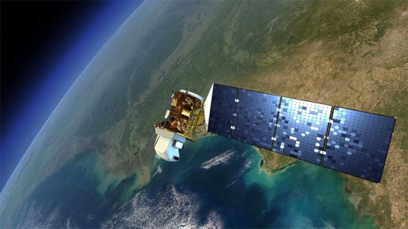 Artist's image of newest Landsat satellite, now orbiting Earth. This satellite is continuing Landsat's near-continuous 40-year record of observing Earth changes.