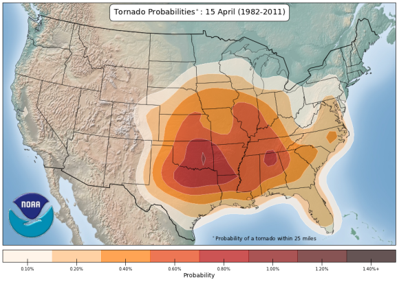 We can look at climatology to predict who typically sees the most active severe weather. Image Credit: NOAA/SPC