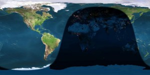 Day and night sides of Earth at greatest eclipse (2013 April 25 at 20:07:30 Universal Time). Image credit: Earth and Moon Viewer