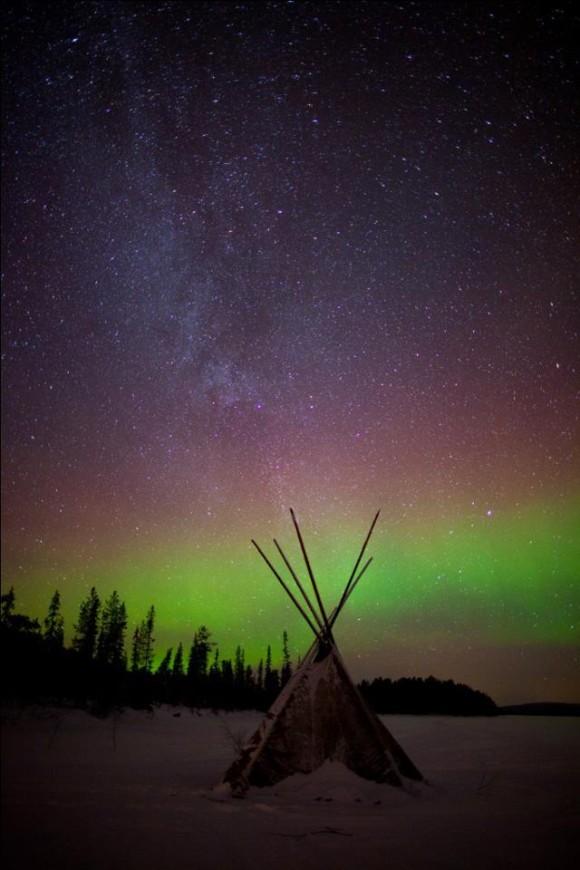 Aurora and teepee, captured November 2012 by EarthSky Facebook friend Aurora Zone.