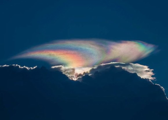 Cloud iridescence captured by George Quiroga in Boynton Beach, Florida on July 31, 2012.  Thank you, George.  Image via Wikimedia Commons.