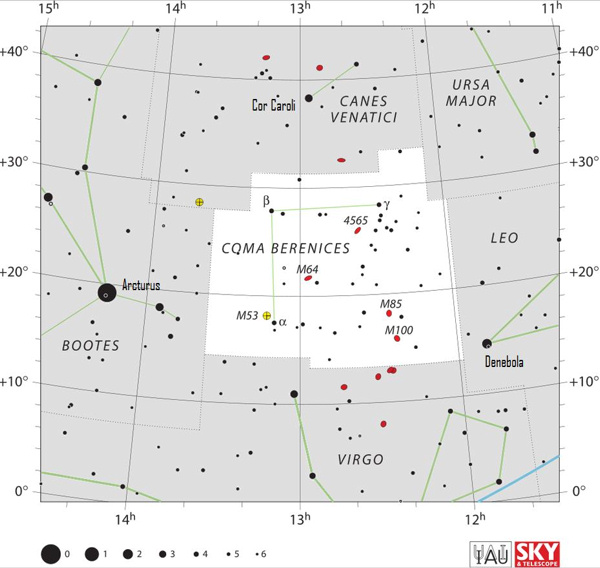 Detailed chart of Coma Berenice constellation with stars in black on white.
