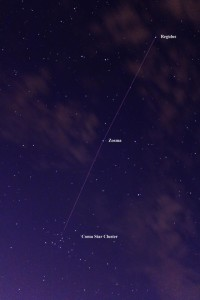 Night sky photo of star field with Line from Regulus to Coma open star cluster.