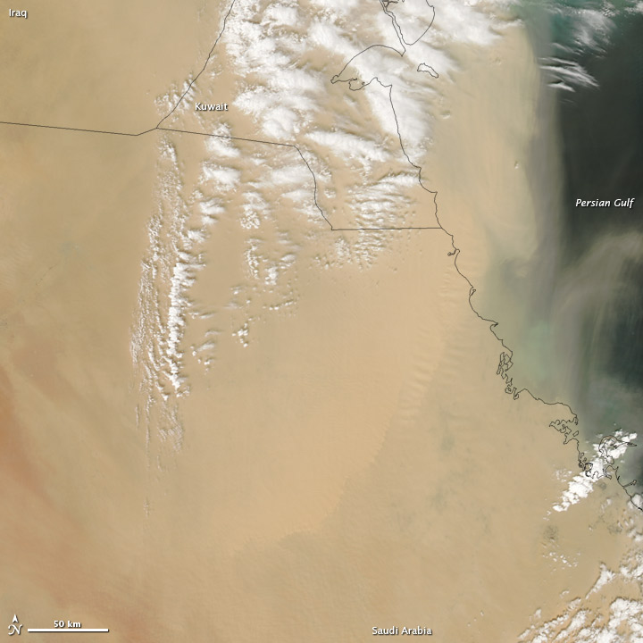 Dust over parts of the Arabian Peninsula and the Persian Gulf on April 5, 2013 via NASA's Earth Observatory. View larger.