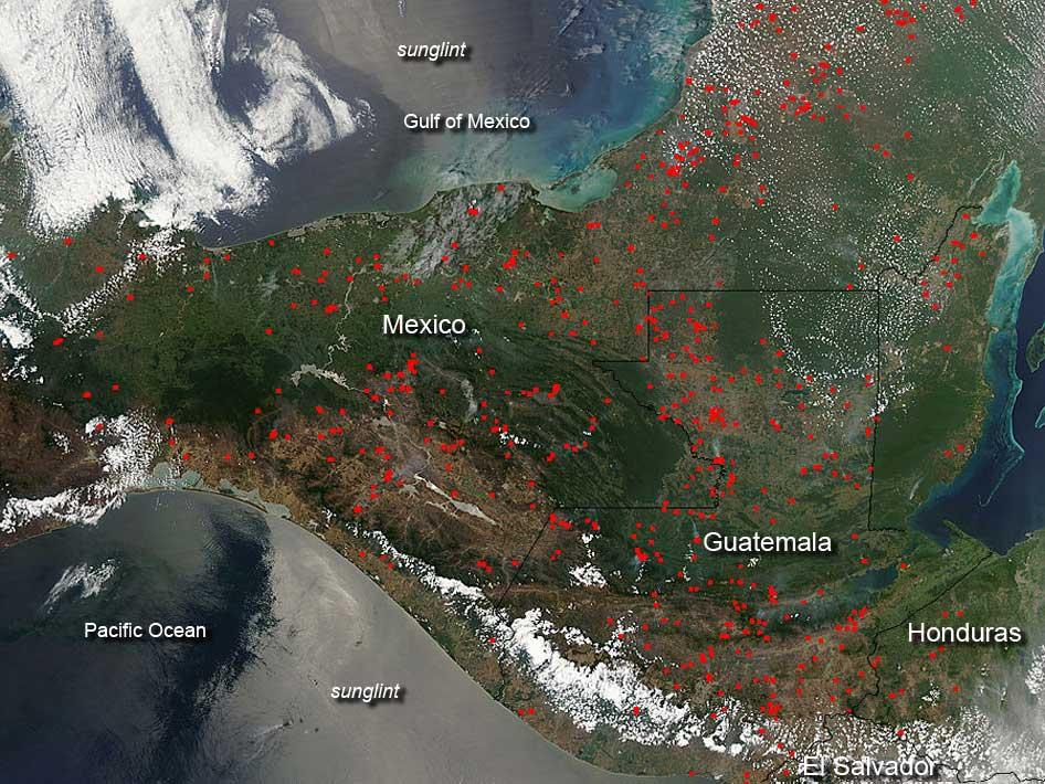 Fires over Mexico and Central America