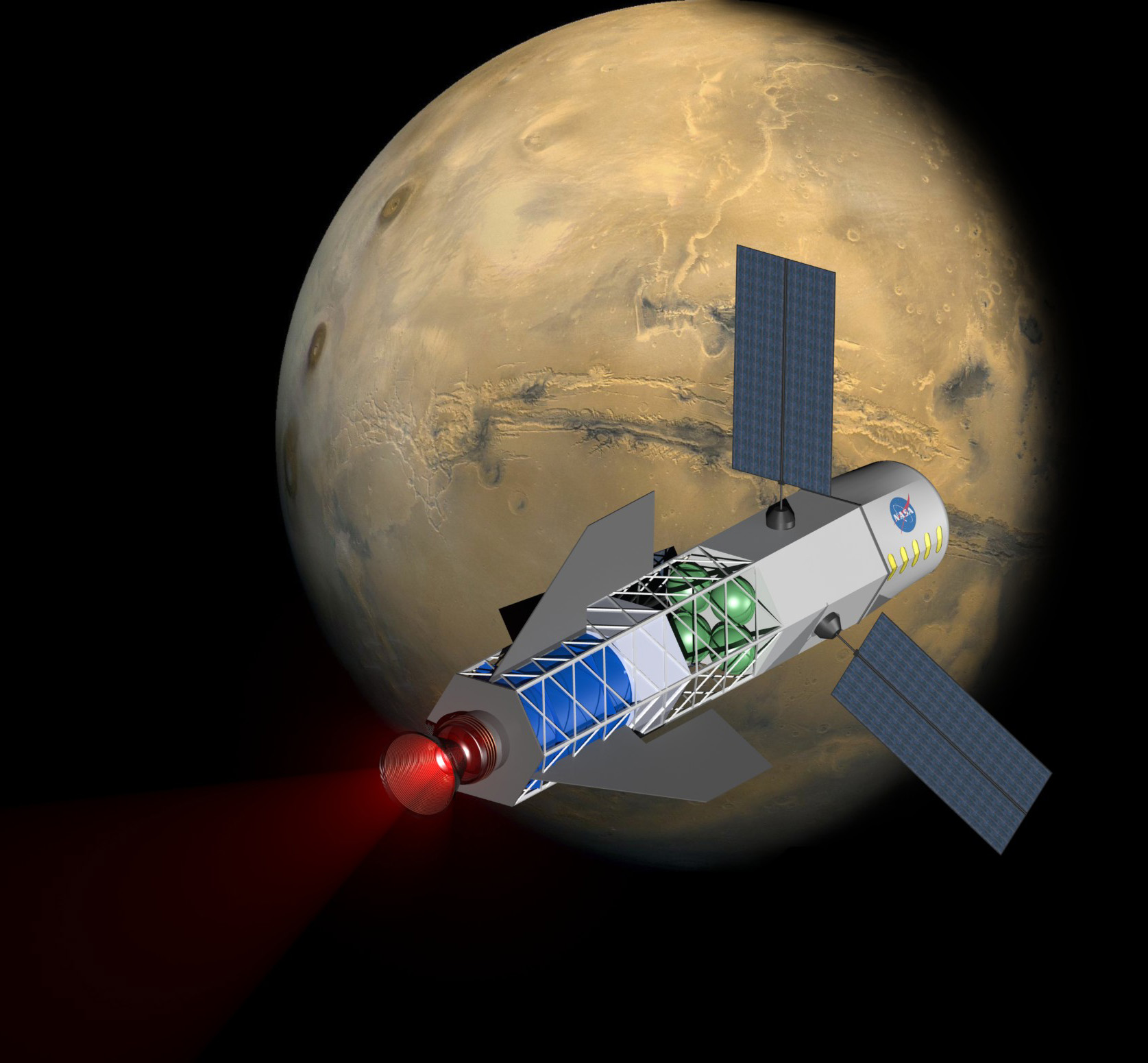Artist's concept of a fusion rocket to Mars via University of Washington.  View larger.