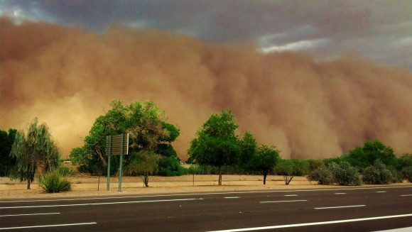 A haboob or dust storm entering the town of Scottsdale, Arizona on July 21, 2012, as captured by our friend Ryan Behnke.