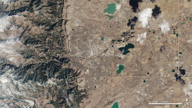 The newest Landsat satellite also transmitted this image, showing the Rocky Mountains in stunning details. The satellite is being calibrated now and will begin full operations in May. Image via NASA. View larger.
