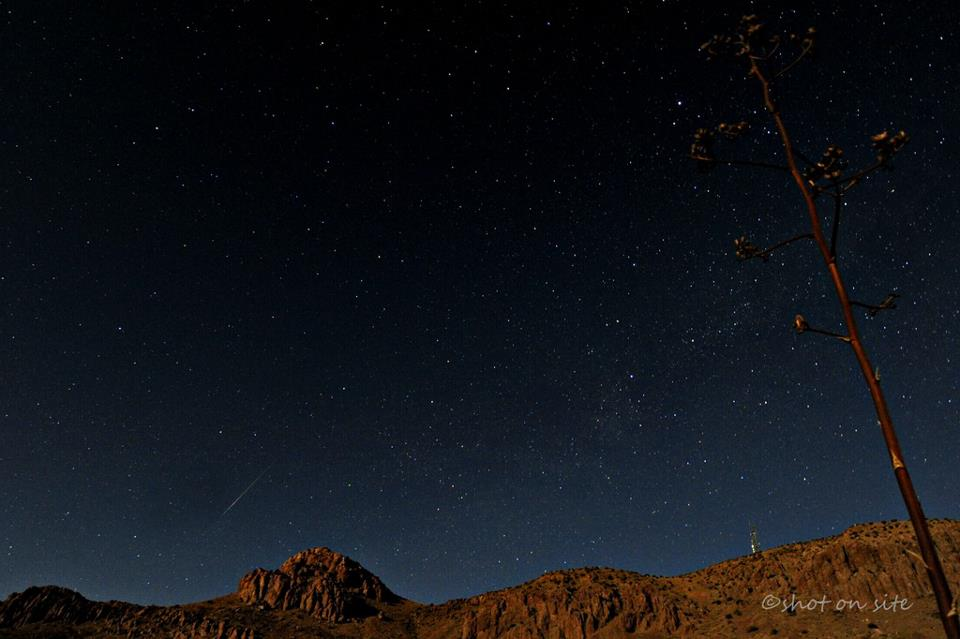 See meteor in lower left. This photo is from our friend Dan Gauss. He wrote, 'My camera was busy while I slept.. and got lucky, and grabbed one before moonset, over the Little Florida Mtns, Deming NM USA.'
