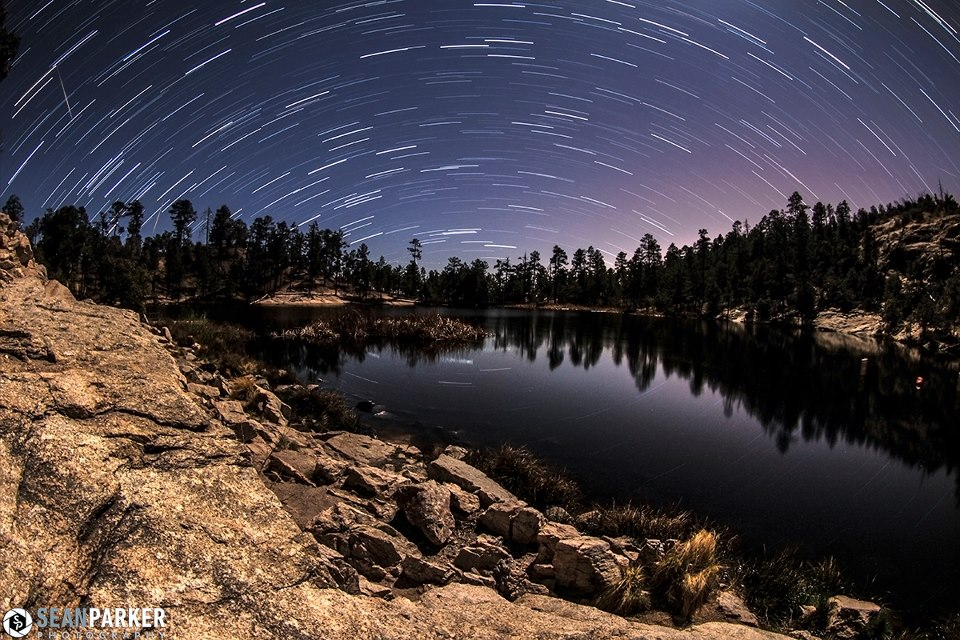 Lyrid meteor (left side of photo) and star trails from EarthSky Facebook friend Sean Parker Photography. Visit Sean's Facebook page to see more of his photos. View larger.