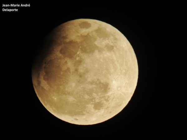 April 25 partial lunar eclipse from our friend Jean Marie Andre Delaporte in Normandy, France. Thank you, Jean Marie!