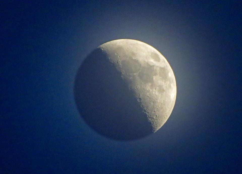 A nearly first quarter moon in a hazy, captured by EarthSky Facebook and G+ friend Duke Marsh of New Albany, Indiana. Thank you, Duke! View larger.