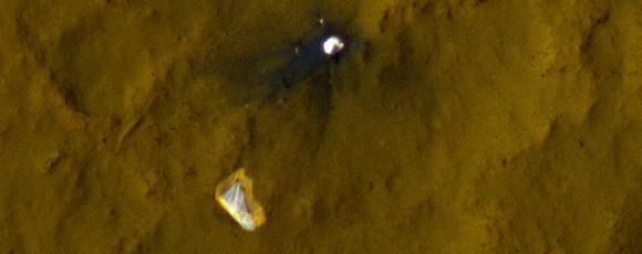 Curiosity's parachute on Mars, as seen by the Mars Reconnaissance Orbiter. Image via NASA.