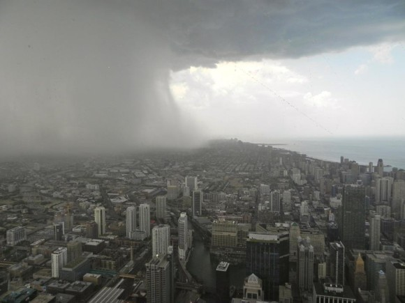 Storm coming, as seen from the Sears Tower in Chicago in July 2012, from our friend Caryn Elder.  Thank you, Caryn.