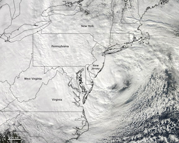 Satellite image of Sandy shortly before landfall on October 29, 2012. Image via NASA/GSFC Hurricanes vary in size and intensity, but Hurricane Sandy spread tropical storm winds over 900 miles, and typical systems are roughly 200 to 400 miles across.