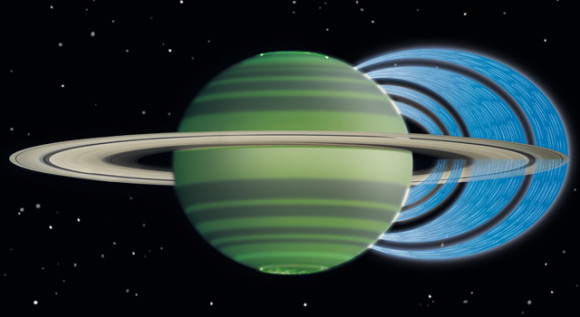 This artist's concept illustrates how charged water particles flow into Saturn's atmosphere from the planet's rings. The observations were made with the W.M. Keck Observatory on Mauna Kea, Hawaii, with NASA funding. The analysis was led by the University of Leicester, England. Image credit: NASA/JPL-Caltech/Space Science Institute/University of Leicester