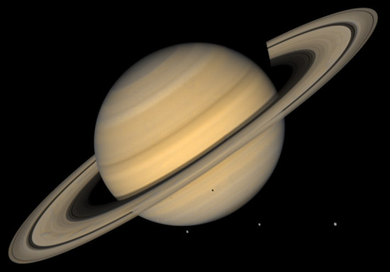 Saturn as seen by Voyager 2.  Image via NASA.