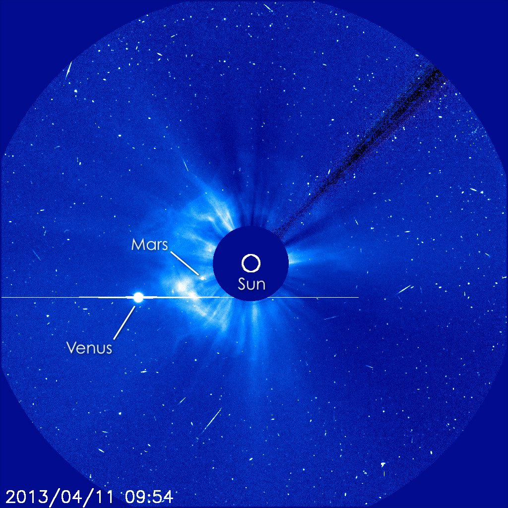 SOHO also captured this coronagraphic (a telescopic attachment designed to block out the direct light from a star so that nearby objects can be seen) image of the CME as it moves further out into the heliosphere.  Notice Mars (nearly behind the sun) and Venus (to one side of the sun as seen from Earth now).  View larger.  Image via ESA/NASA/SOHO/GSFC