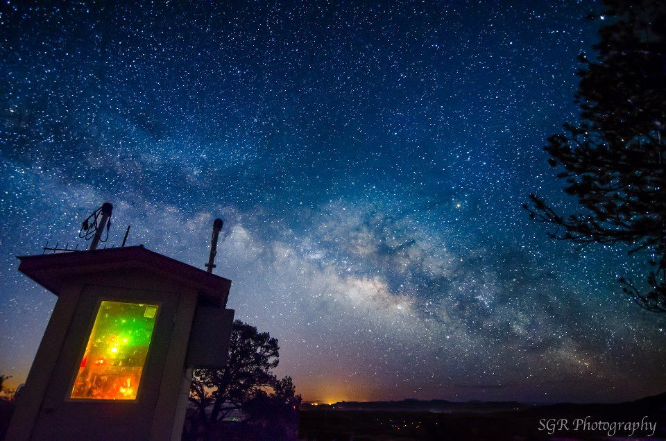 'A nice west Texas sky from Mt. Locke, in the Davis mountains near the McDonald Observatory ... Even from this remote location, you can see the light coming from Fort Davis on the bottom of the image. by EarthSky Facebook friend Sergio Garcia Rill