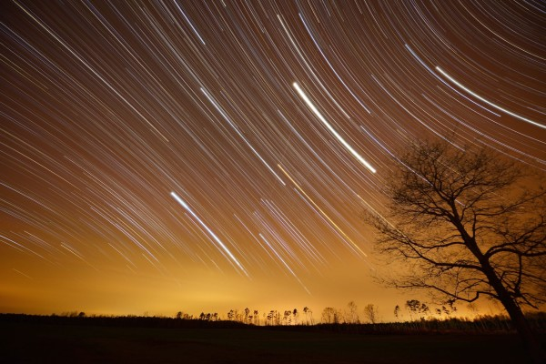 A two-hour-and-15-minute star trail image from March 21, 2014.  Our friend Ken Christison in North Carolina captured this image.  He wrote,