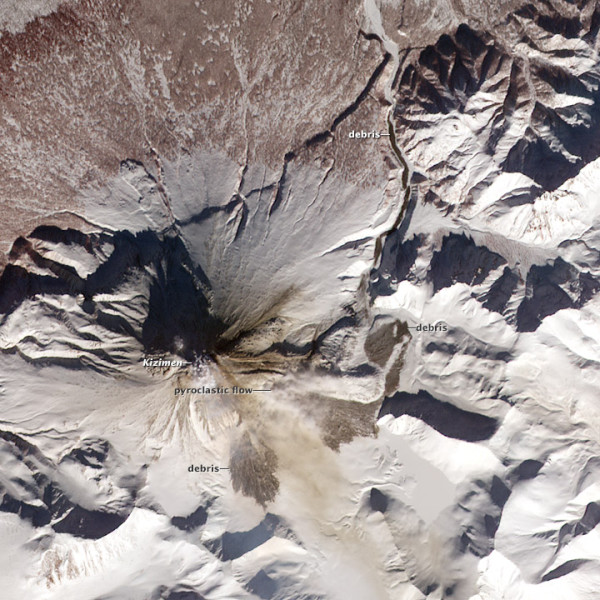 NASA's Terra satellite captured a debris flow as it cascaded down the eastern flank of Russia's Kizimen Volcano on March 2, 2013.