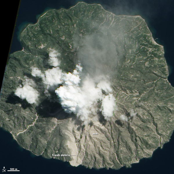 Paluweh Volcano has been erupting since October 2012. NASA's Earth Observing-1 satellite acquired this image on March 31, 2013. Read more about Paluweh Volcano's recent eruption here.
