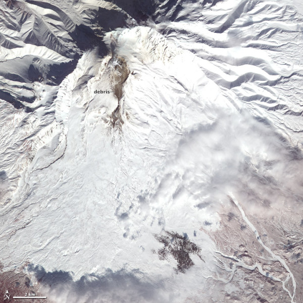 Snow, ash, and debris at Shiveluch Volcano, in Russia, on March 18, 2013. NASA's Terra satellite captured this image.