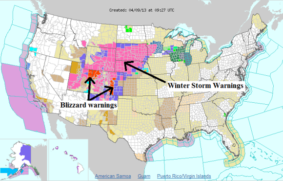 Winter weather is occurring across the mountain regions behind this strong system. Image Credit: NOAA