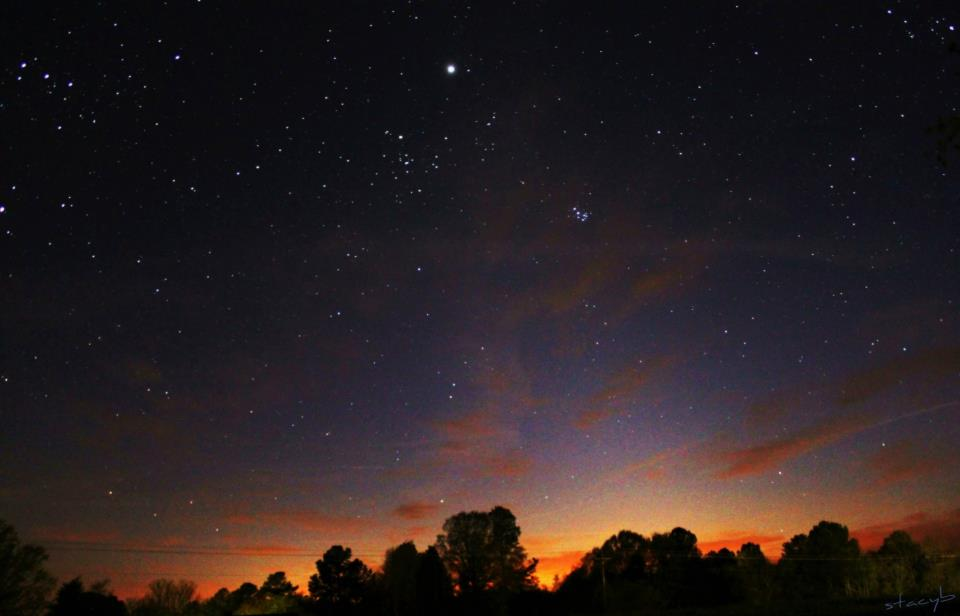 '9:01 PM, Jupiter, Pleiades, Zodiacal Light 4/6/13' by Stacy Oliver Bryant