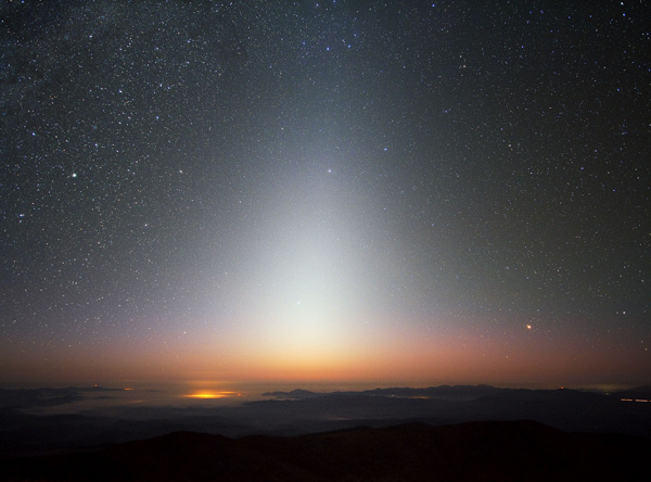 Zodiacal light in the west after a springtime sunset. In the Southern Hemisphere, springtime comes on the September equinox, not the March equinox.