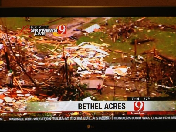 Significant damage in Bethel Acres, Oklahoma. Image Credit: News9.com