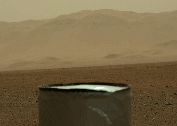 View from Curiosity rover of Gale Crater Mount Shaprp, on August 9, 2012.