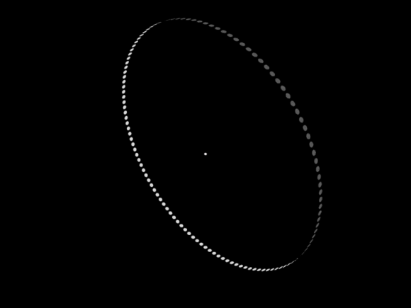 A bright dot with a large ring of white dots around it.