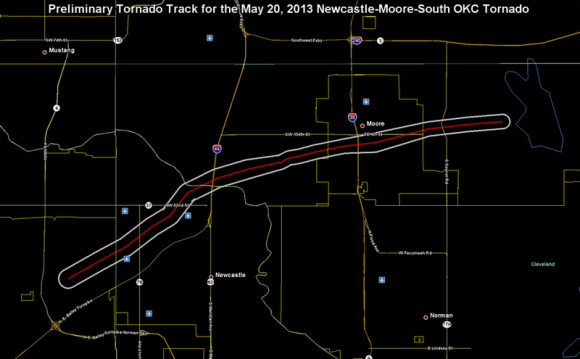 Preliminary track of May 20, 2013 Newcastle-Moore, Oklahoma, tornado. Graphic prepared by the National Weather Service Weather Forecast Office in Norman, Oklahoma.