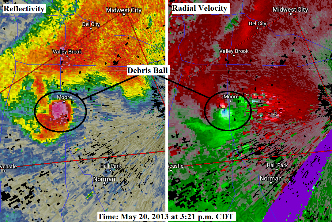 View larger. | A debris ball created by the tornado showed up on radar, giving advance warning of its deadly power.