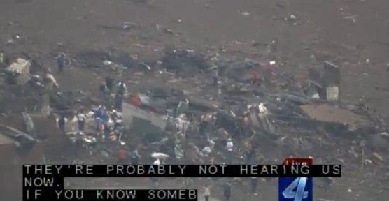 Screen capture of May 20, 2013 Moore, Oklahoma tornado damage from KFOR-TV.
