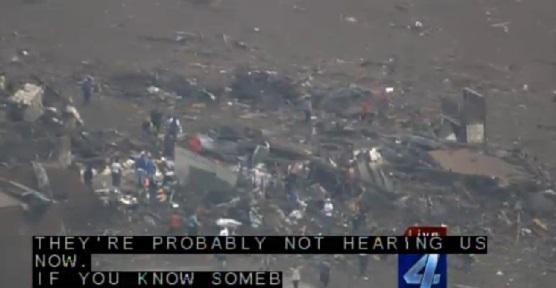 Screen capture of May 20, 2013 Moore, Oklahoma tornado damage from KFOR-TV.