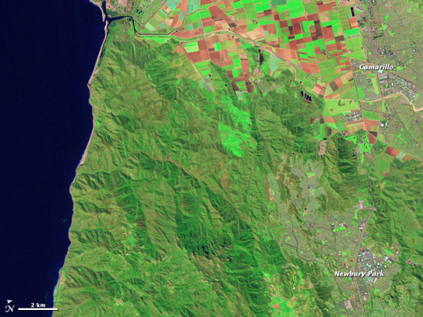 The same area of California as in the image above on March 18, 2010. Image via NASA Landsat.