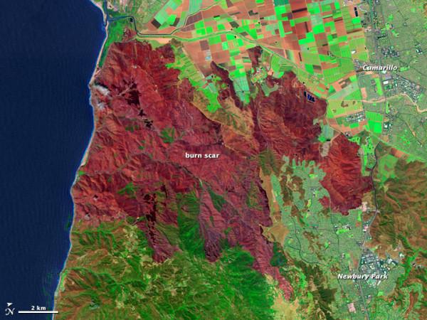 Burn scar left from California's Springs Fire. Image via NASA Landsat on May 4, 2013.